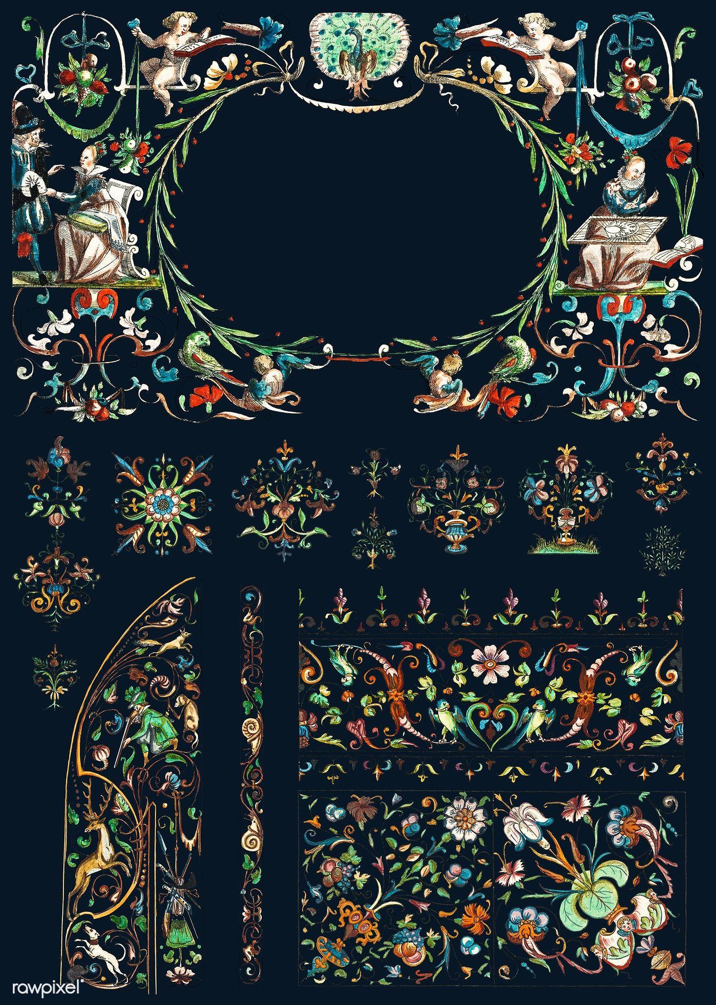 Download premium illustration of Vintage flourish ornament