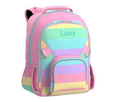 Pink Pastel Rainbow Stripe Large Fairfax Backpack