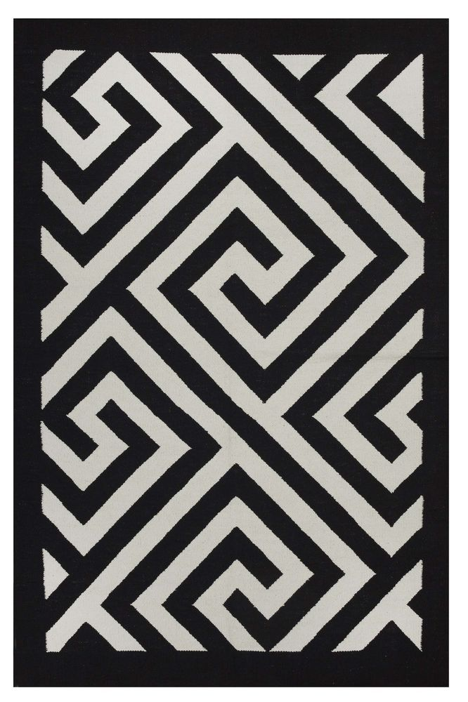 Modern Rug 3 X 5 Black White Soft Cotton Flatwoven Greek Key Carpet