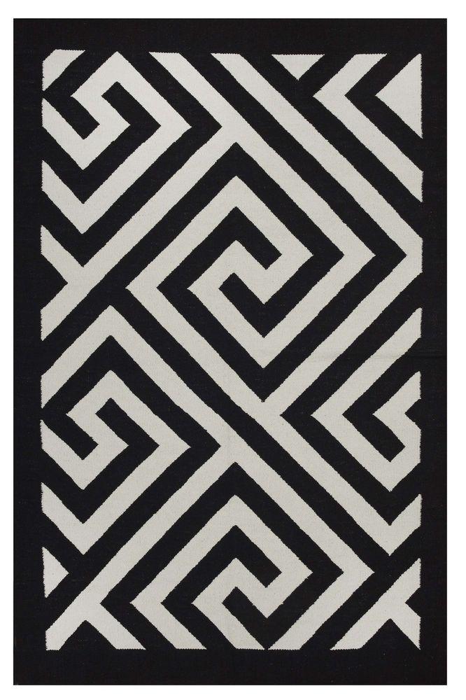 Modern Rug 3 X 5 Black White Soft Cotton Flatwoven Greek Key