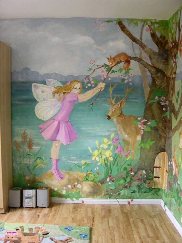 Children mural ideas children 39 s bedroom murals wall2 for Fairy garden wall mural