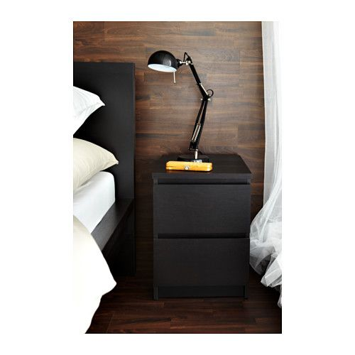 MALM Chest with 2 drawers IKEA Can also be used as a nightstand. Extra roomy drawers. Smooth running drawers with pull-out stop.  sc 1 st  Pinterest & MALM 2-drawer chest black-brown | Pinterest | Malm Drawers and ...