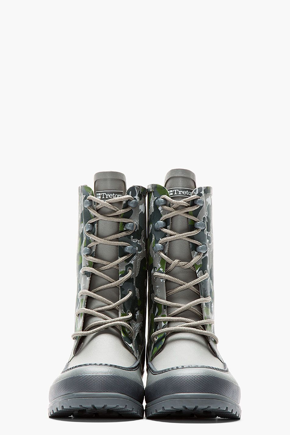 WHITE MOUNTAINEERING Grey & Green camo Tretorn edition long boots