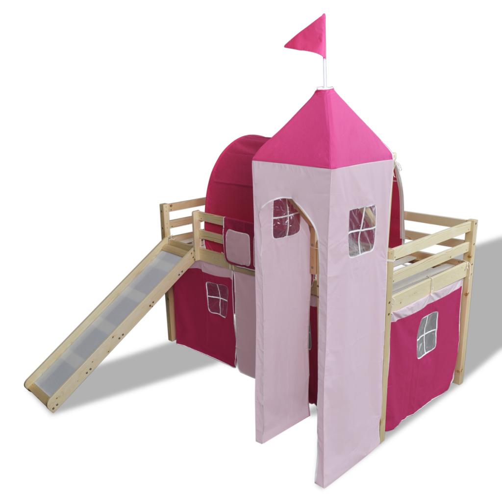 Loft bed with slide and tent  Loft Bed With Slide Ladder Natural Colour Castlethemed  Toddler