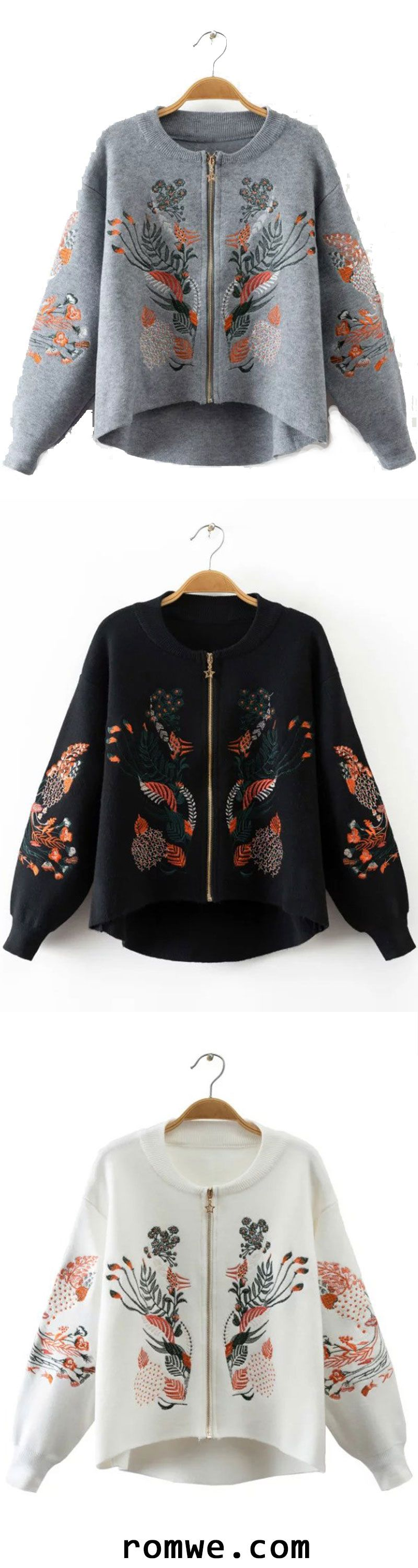 Embroidery Zipper Up High Low Sweater Coat
