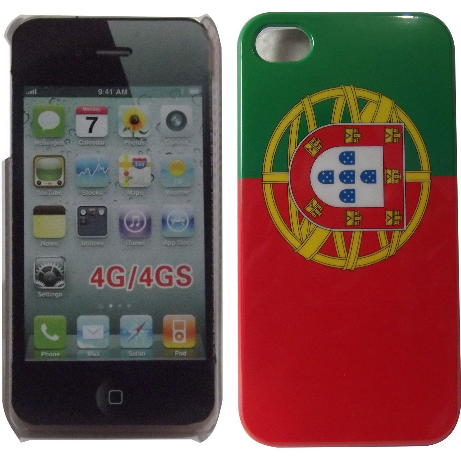Portugal Flag Hard Back Case Cover for Apple iPhone 4 4G 4S