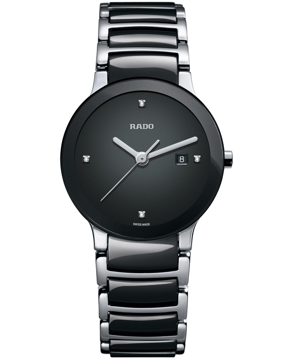Rado Watch Women S Swiss Centrix Diamond Accent Stainless Steel And Black Ceramic Bracelet 28mm R30935712 Reviews All Fine Jewelry Jewelry Watches Ma Luxury Watches For Men