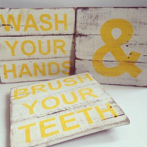 Yellow Bathroom Signs bathroom sign vintage pallet wood signs washthecreativepallet