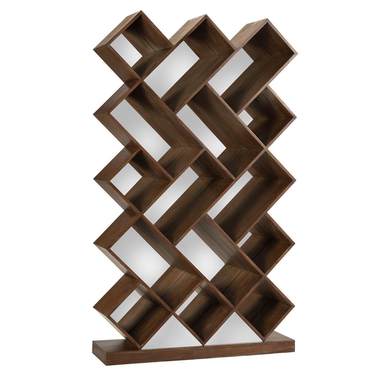 John Richard Slanted Modern Book Shelf Sandra Mirror Dark Chestnut With Mirrored Back Free Standing Measurements W X D H