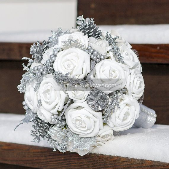 Winter Wonderland White And Silver Bouquet With By Thebridalflower