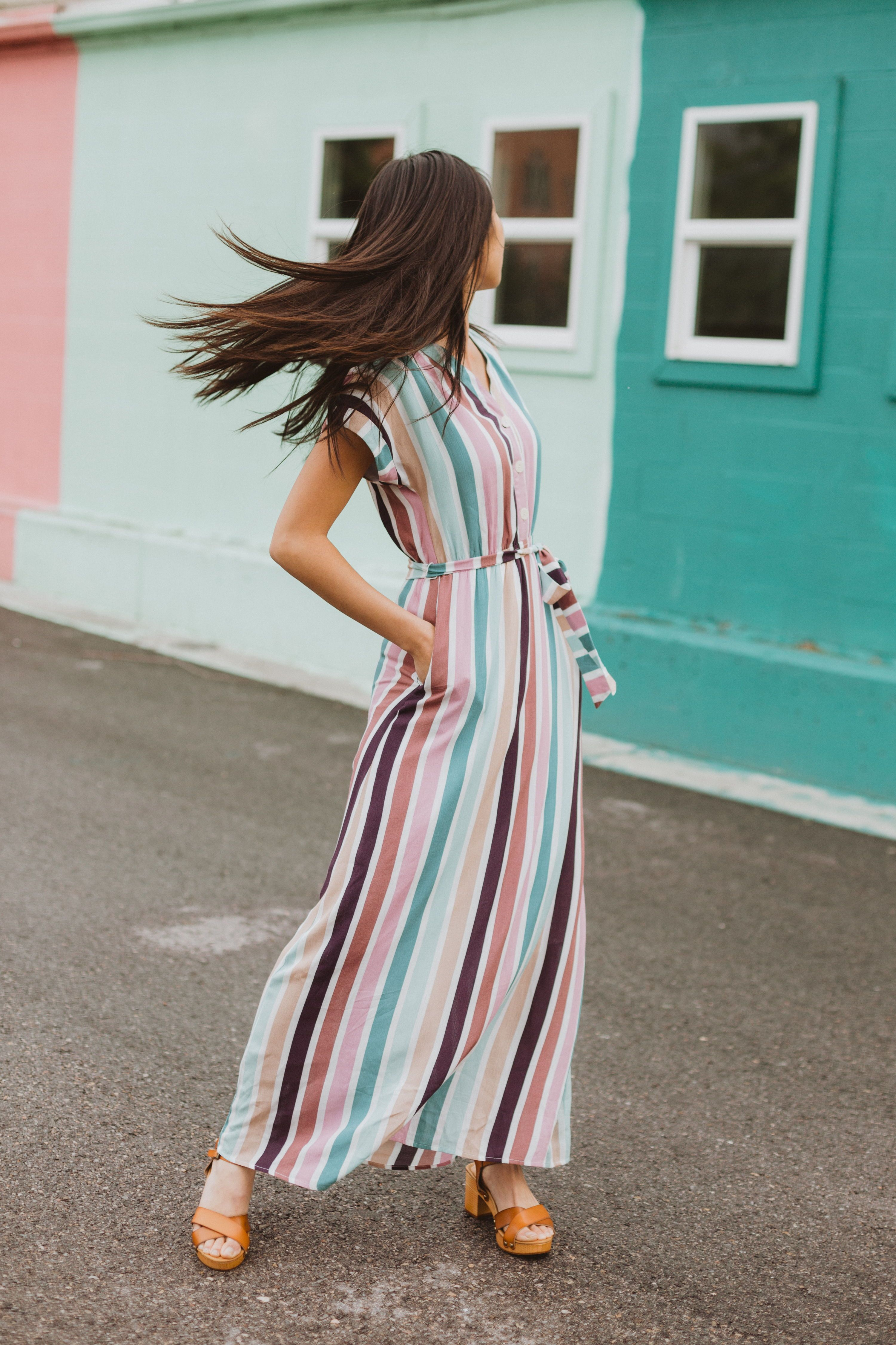 The Cha Cha Striped Maxi Dress Is As If All Your Favorite Things Came Together As A Dress It Striped Dress Outfit Striped Maxi Dresses Vertical Striped Dress [ 4500 x 3000 Pixel ]