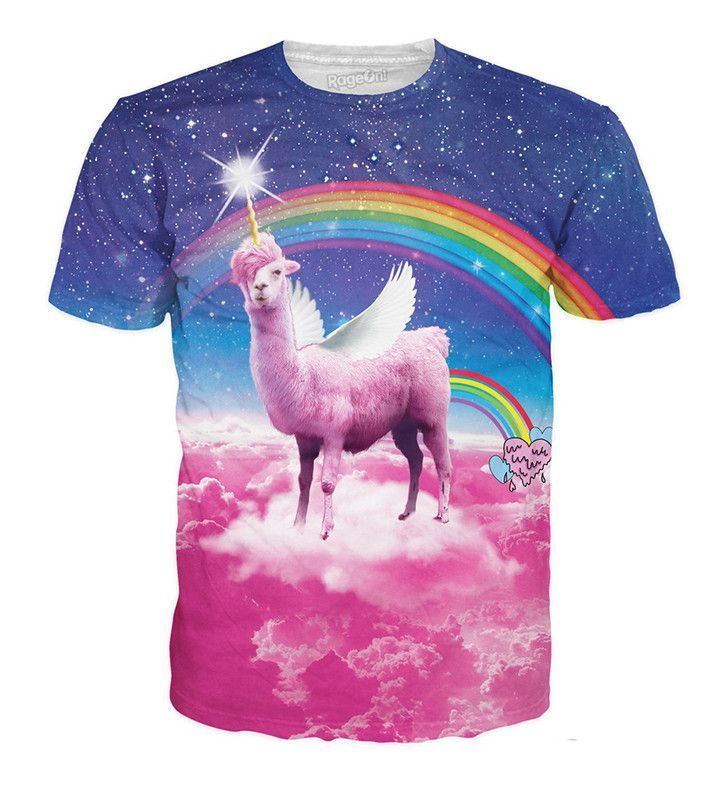 Check out this sick all-over print Rainbow Llamacorn T-Shirt featuring the  rarest