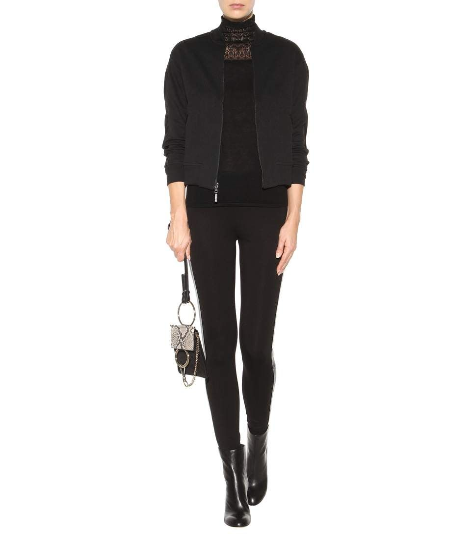 Cotton-blend bomber jacket / Lace-panelled silk-blend sweater / Jersey leggings (Polo Ralph Lauren)