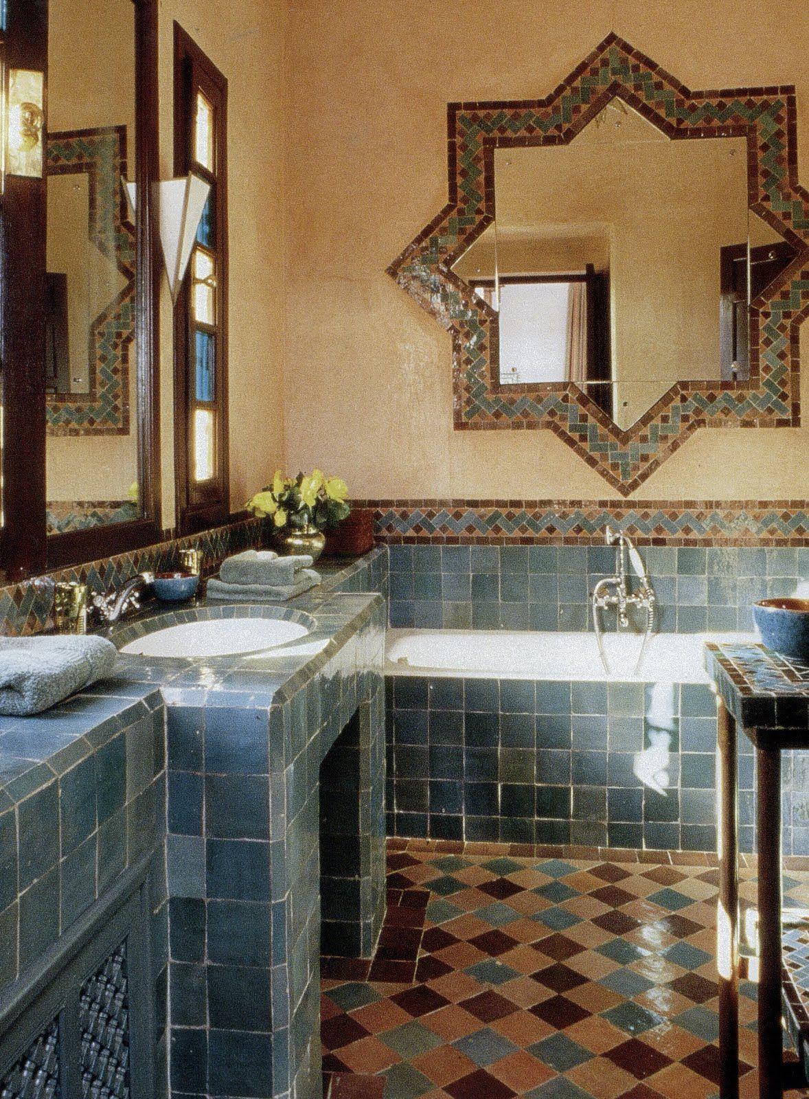 Accessoires Salle De Bain Couleur Aqua ~ Moroccan Bathroom Bathrooms Pinterest Maroc Salle De Bains Et