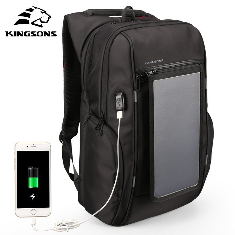 165f388a6def KINGSONS Solar Power Charging Waterproof Laptop Backpack for 15 Inch ...