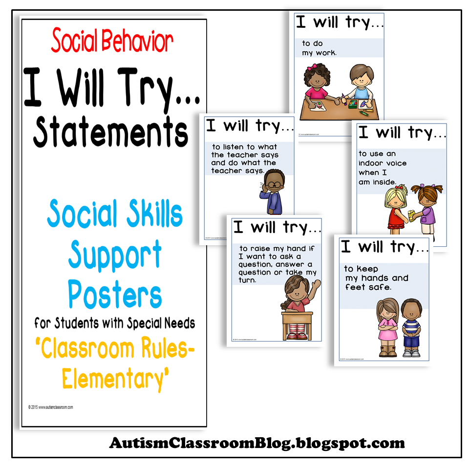 I Will Try Statements- Social Skills Support Posters (Rules ...