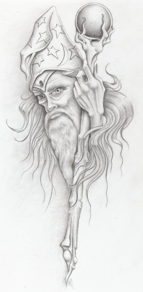 wizzzzzzzard by markfellows on DeviantArt   *   Fantasy Myth Mythical Mystical Legend Elf Elves Sword Sorcery Magic Witch Wizard Coloring pages colouring adult detailed advanced printable Kleuren voor volwassenen coloriage pour adulte anti-stress kleurplaat voor volwassenen Line Art Black and White