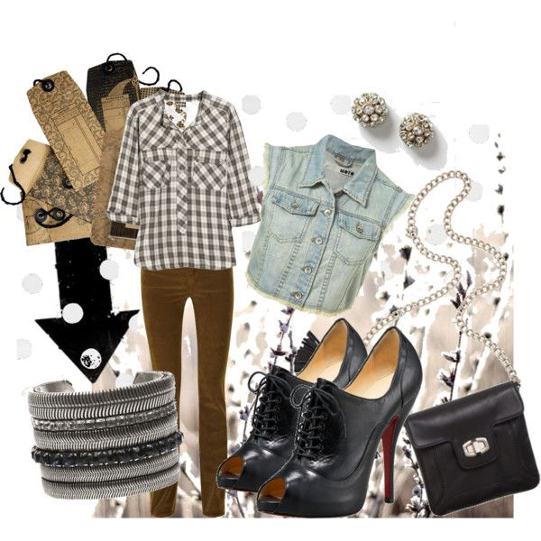 A fashion look from August 2010 featuring 3/4 sleeve tops, green vest and boot-cut jeans. Browse and shop related looks.