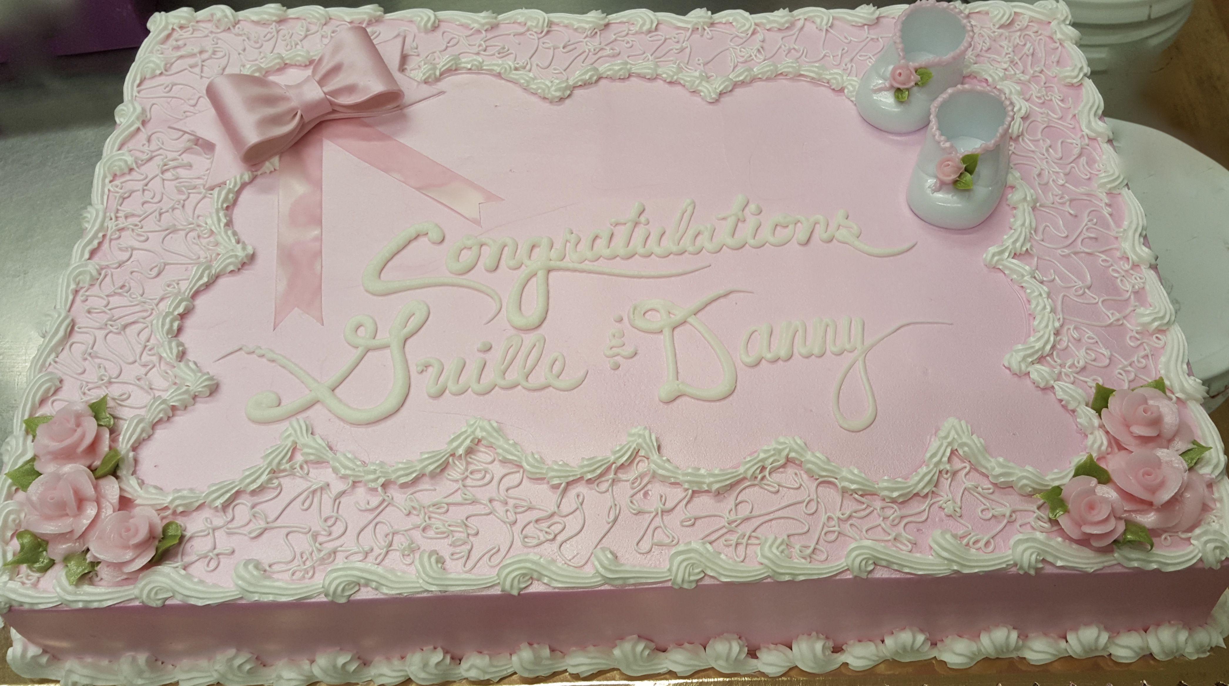Calumet Bakery Soft Pink Baby Shower Cake Simple Sheet Cake Design