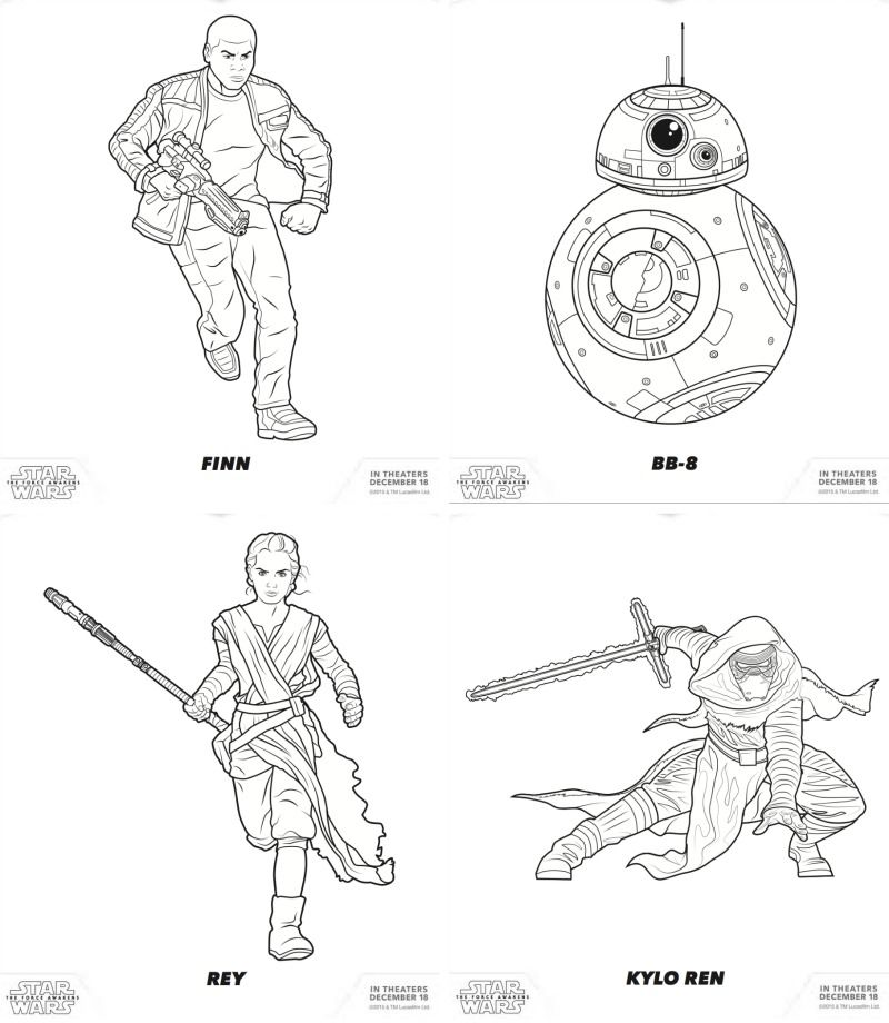Free star wars free coloring pages featuring rey finn kylo ren star wars the force awakens free printables