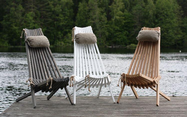 Sedia a sdraio in legno grigio e beige Jon, 105x90x65 cm ...