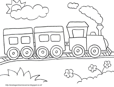 Aneka Gambar Mewarnai - Gambar Mewarnai Kereta Api Untuk Anak PAUD ...