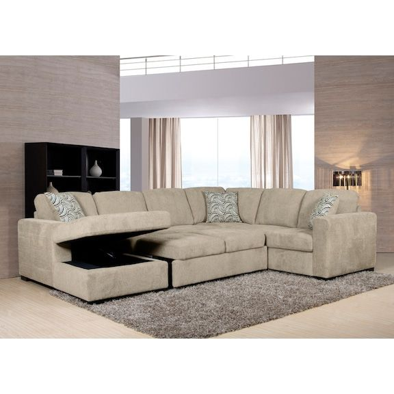 Family Living Room Design Ideas That Will Keep Everyone Happy: Izzy 3-Piece Chenille Left-Facing Sleeper Sectional