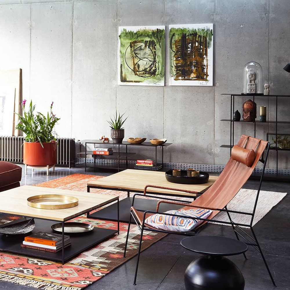 table basse en bois et fer forg noir contemporain et design salon moderne et dcoration - Table Salon Moderne Design