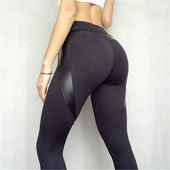 bf00a49280758 Cheryl Bull Women High Waist Black Leggins Push up Hip Patchwork Leather  Pants Bodybuilding Sportswear Leggings at Amazon Women's Clothing store