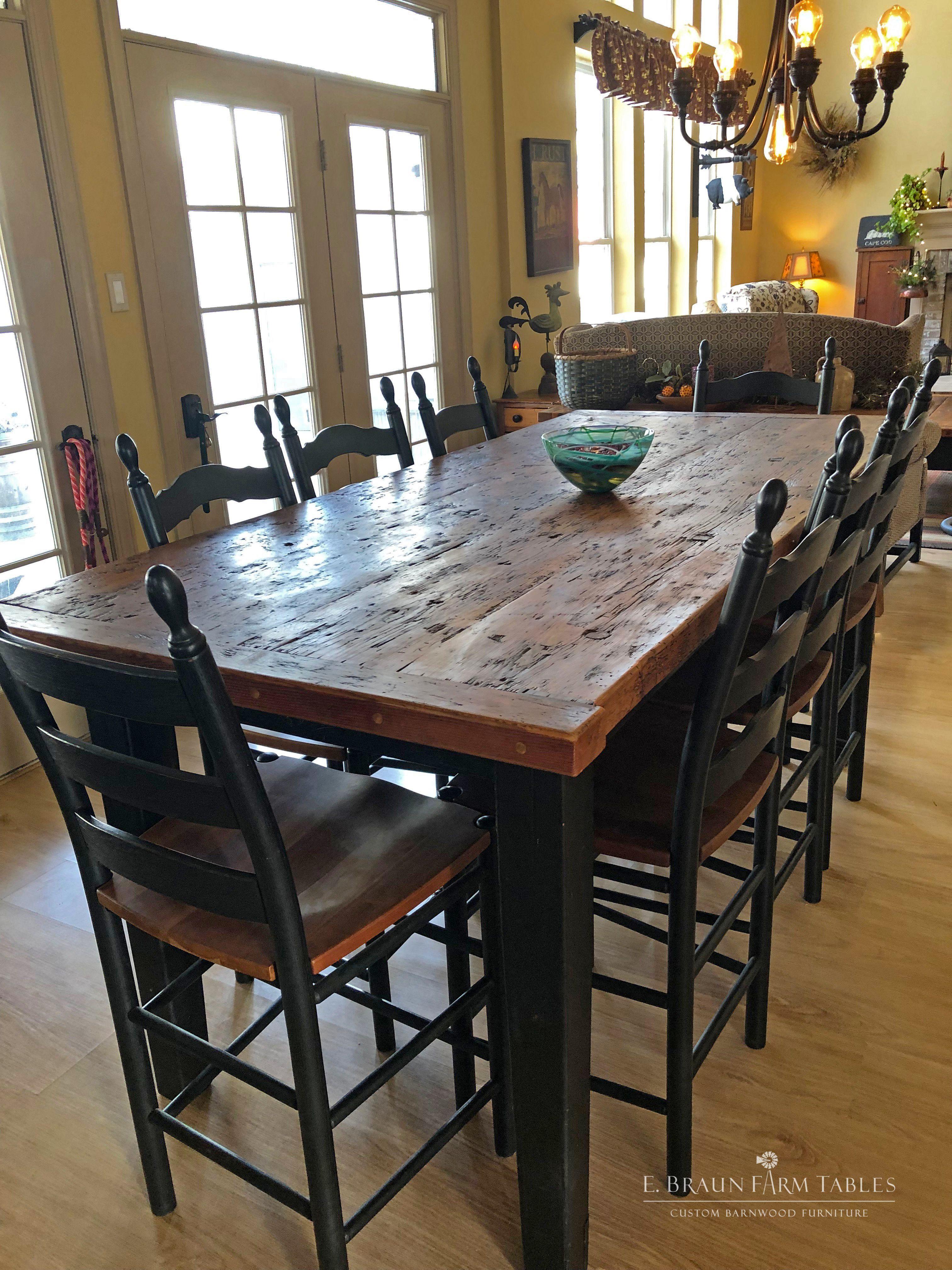 High Top Farmhouse Table Kitchen Table Wood Farmhouse Kitchen