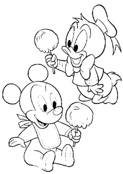 Baby Donald And Mickey Coloring Page | Disney | Pinterest