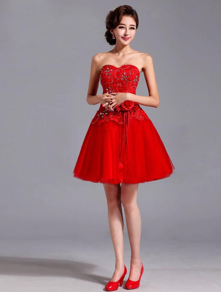 Red Short Wedding Dresses Informal Wedding Dresses For Older Brides Red Wedding Dresses Popular Wedding Dresses Tulle Bridesmaid Dress