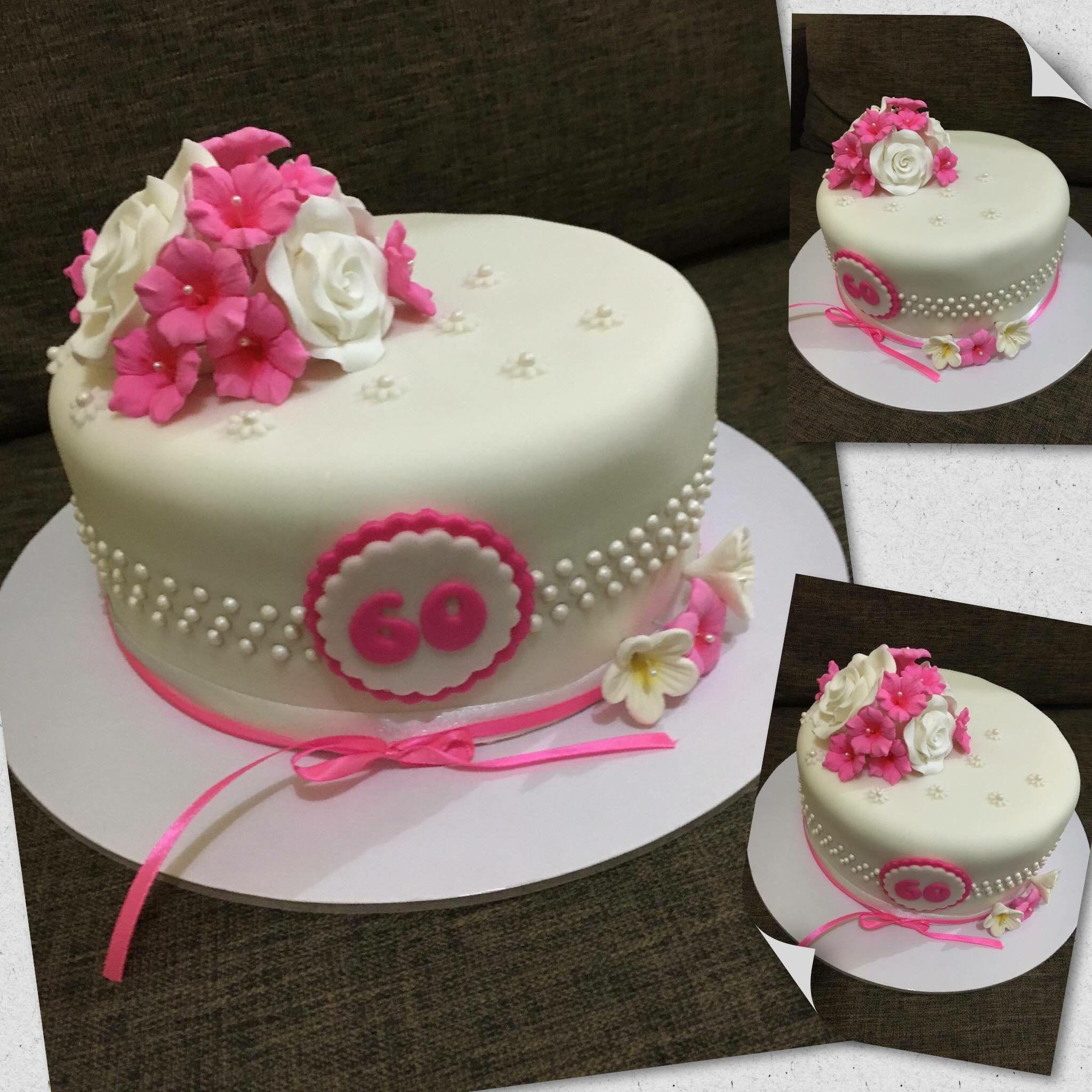 Simple 60th Birthday Cake #PinkSweets | Birthday cake ...