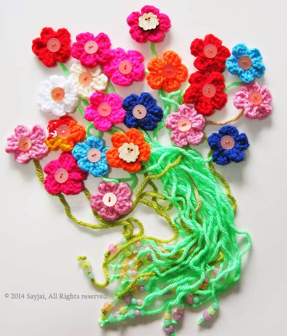 Sayjai amigurumi crochet patterns: Flower Bookmark and Decorations ...