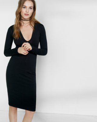 3b38ed3e 8/11/16 Brand/Designer: Express Material: Cotton Dress Length: Midi-Dress  Dress Silhouette: Bodycon Sheath Shoulder: Long Sleeves Neckline: Plunging  Neck V- ...