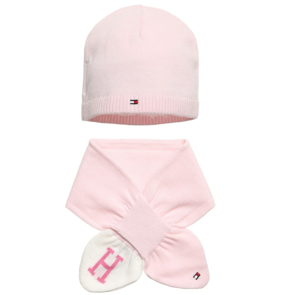 864a53a71e40 Baby Girls Pink Cotton Knitted Hat   Scarf Set