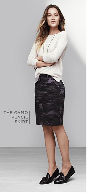 Camo Pencil Skirt w/ loose sweater.  LOFT 7/14