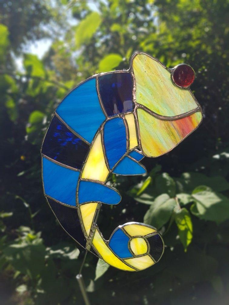 Tiffany Glas Gartenstecker Chamäleon