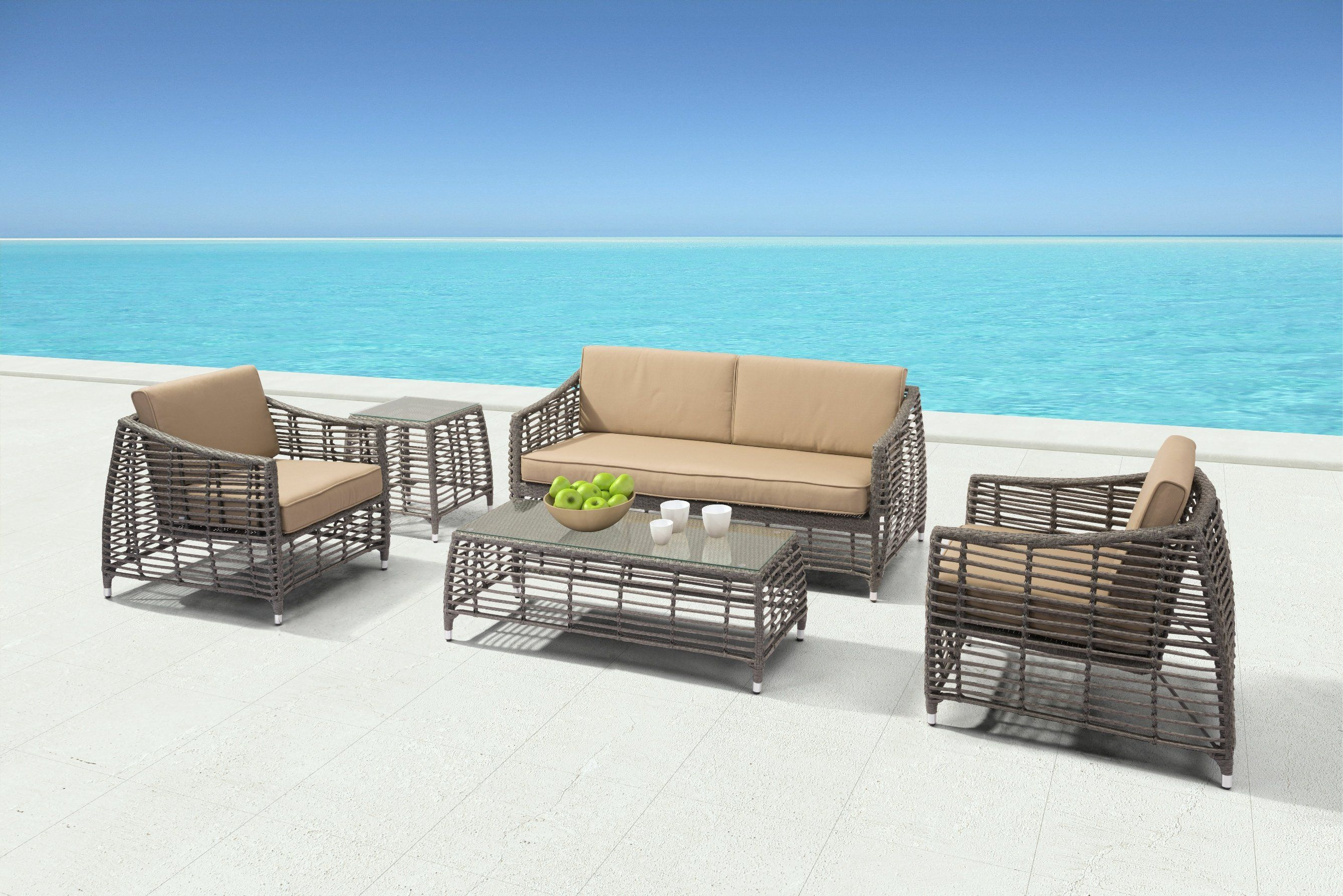 Best Trek Beach Coffee Table Gray Beige Teak Outdoor Beach 400 x 300