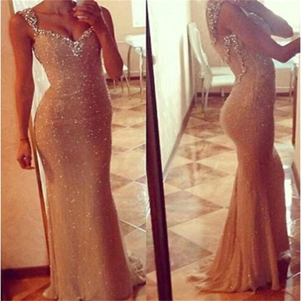 Sexy see through long mermaid sequin prom dresses pd sequin
