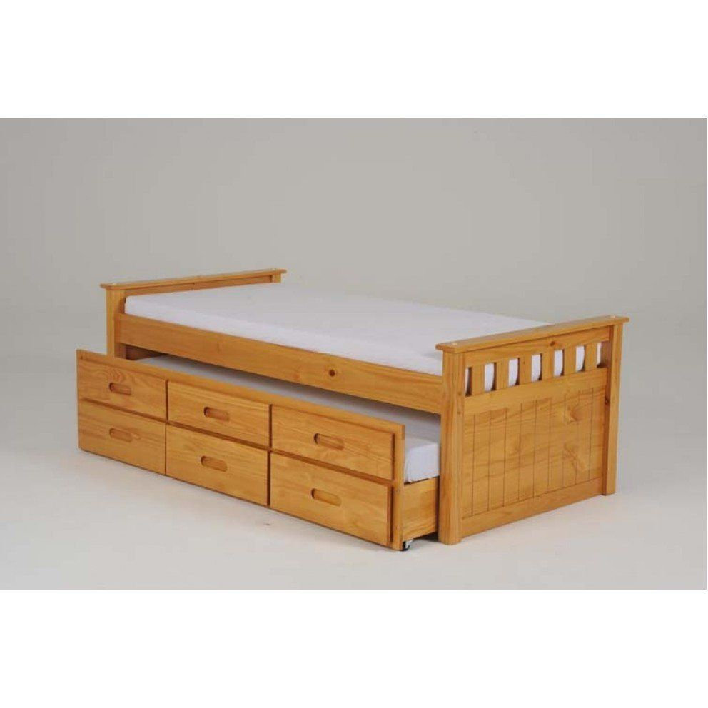 Heartlands Captains Wooden Bed Single With Storage And Guest Bed