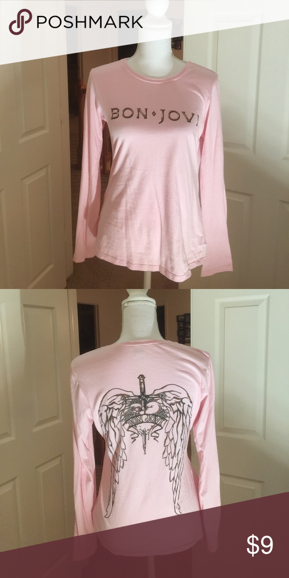 Pink Bon Jovi tee shirt Long sleeve Bon Jovi tee shirt Tops Tees - Long Sleeve