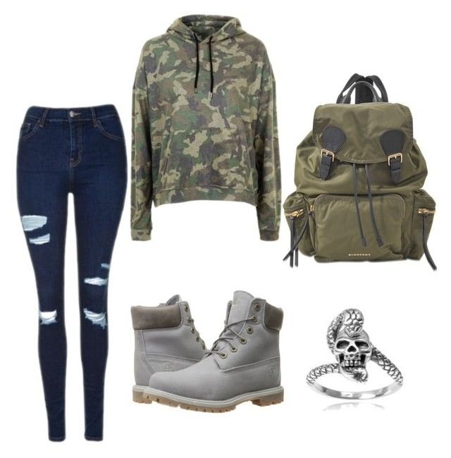 """Untitled #31"" by katrinawells on Polyvore featuring Topshop, Timberland, Burberry and Tressa"