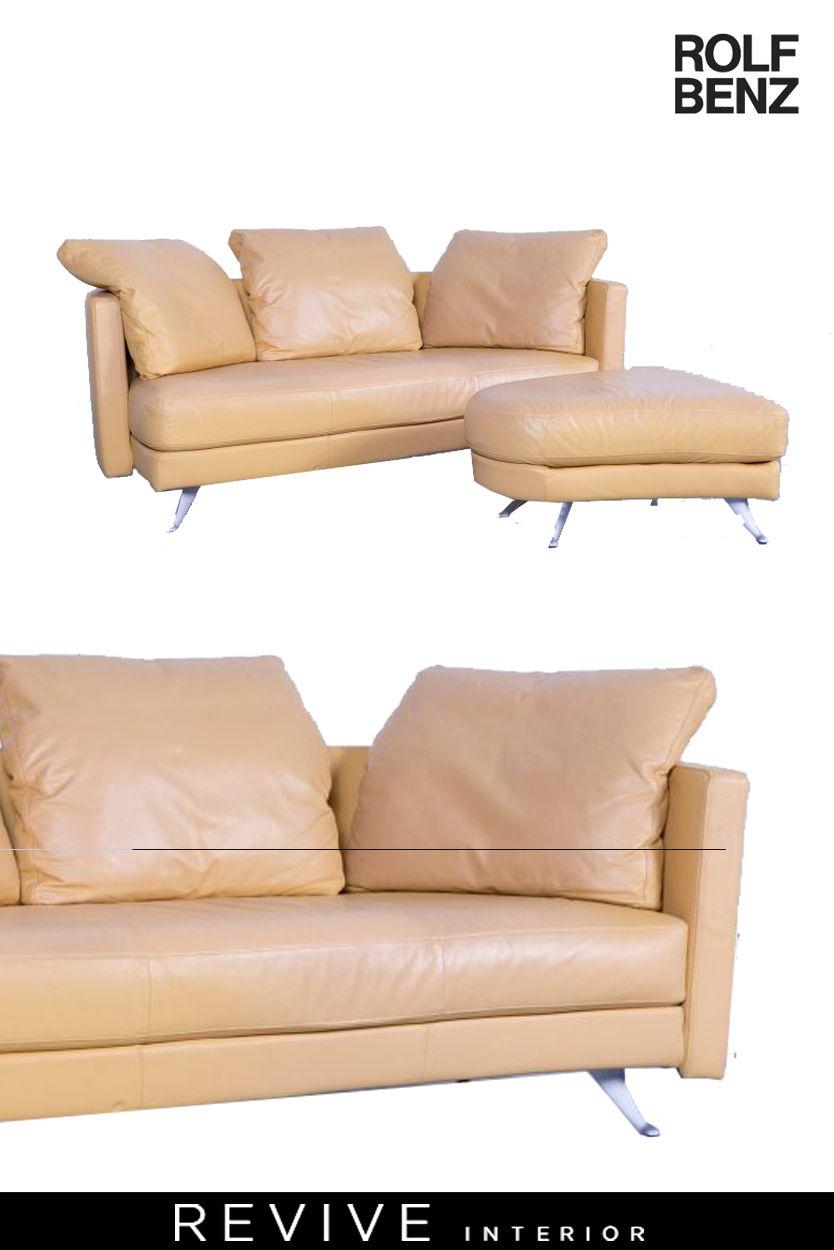 Rolf Benz Leder Sofa Garnitur Beige Zweisitzer Couch Hocker