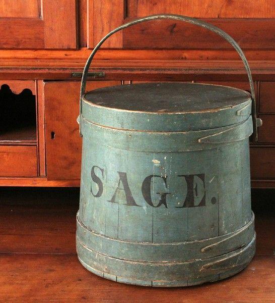 Blue firkin with Sage label