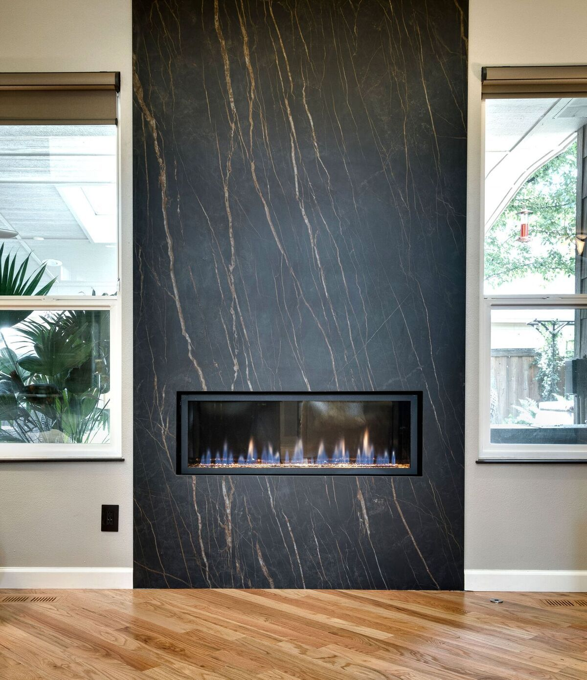 Laminam Slab Porcelain Cava Noir Desir 12mm Matte Fireplace Feature Wall Marble Fireplace Surround Contemporary Fireplace