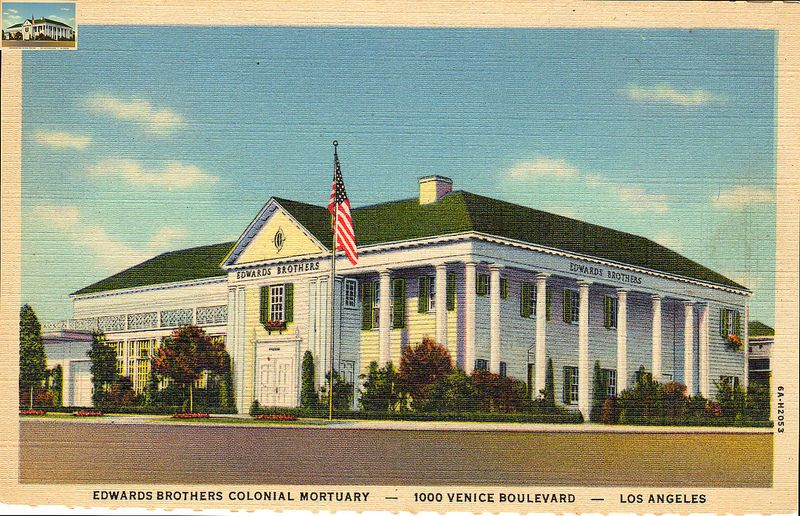 Postcard Edwards Brothers Colonial Mortuary 1000 Venice Boulevard Los Angeles Calif Postcard Antique Postcard Mortuary