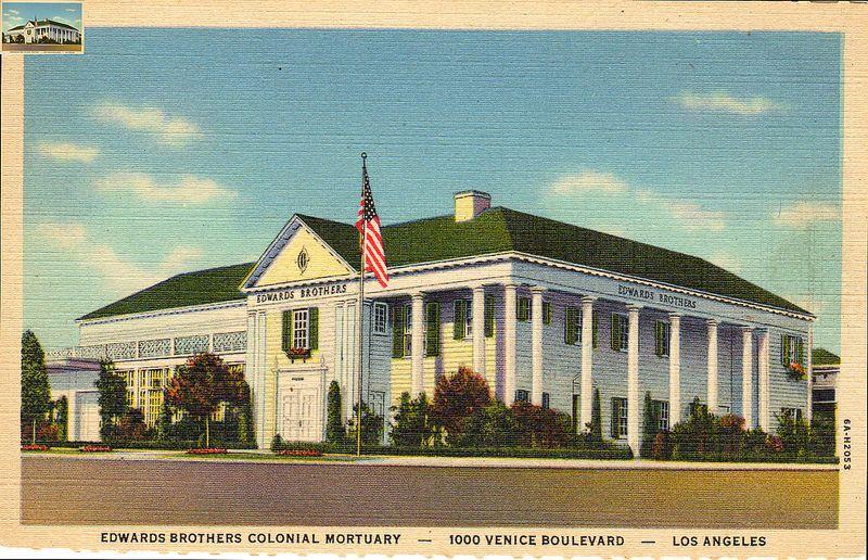 Postcard Edwards Brothers Colonial Mortuary 1000 Venice Boulevard Los Angeles Calif Postcard Antique Postcard Mortuary