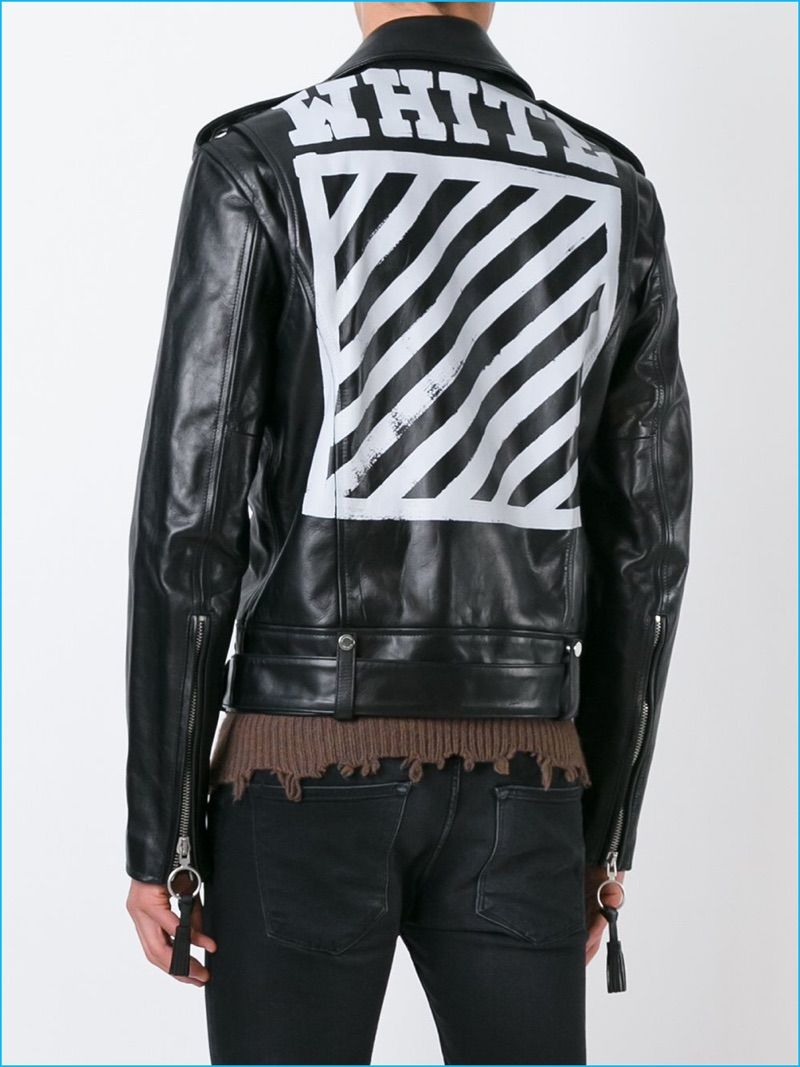 Lucky Blue Channels 1950s Style In Denim Leather Biker Jacket For Nuit Shoot Leather Jacket Jackets Leather Jacket Men [ 1067 x 800 Pixel ]