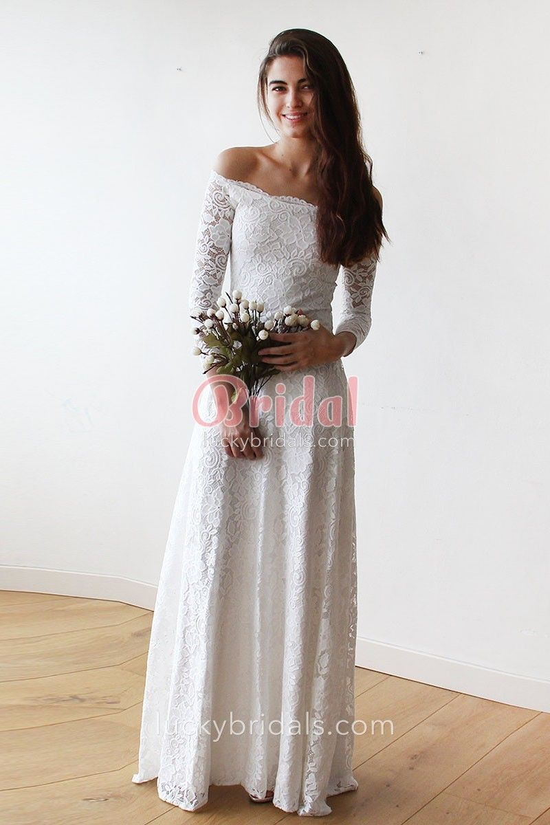 Off White Lace Off Shoulder Long Sleeve Wedding Dress Wedding Dress Long Sleeve Wedding Dresses Long Sleeve Wedding [ 1200 x 800 Pixel ]